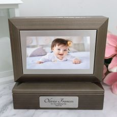 Naming Day Photo Keepsake Trinket Box - Charcoal Grey