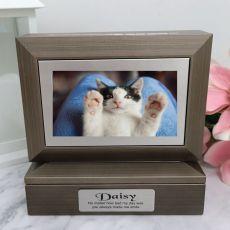 Pet Memorial Photo Keepsake Trinket Box - Charcoal Grey