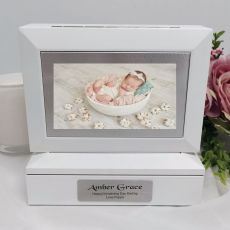 Christening Photo Keepsake Trinket Box - White