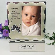 Personalised baptism Keepsake Box with Photo Lid