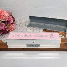 Personalised Birth Certificate Keepsake Box Pink