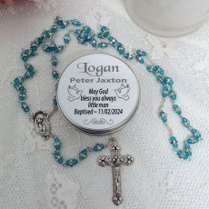 Baptism Rosary Beads Aqua Diamante Personalised Tin
