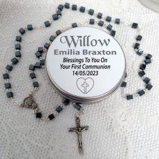 Communion Rosary Beads Square Hematite Personalised Tin