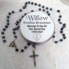 Hematite Rosary Beads Square Personalised Tin