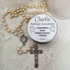 Pearl Rosary Beads Personalised Tin
