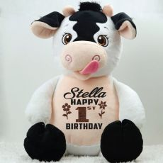 Personalised Birthday Huggles Cow Cubbie Plush