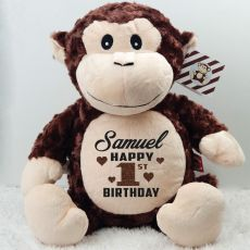 Personalised Birthday Huggles Monkey Cubbie Plush