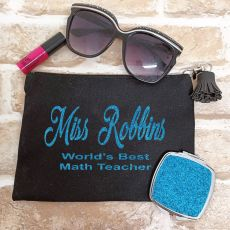 Personalised Teacher Make Up Bag & Mirror Set