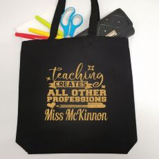 Teacher Tote Bag Glittered Print - Create