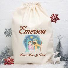 Personalised Christmas Santa Sack - Nativity