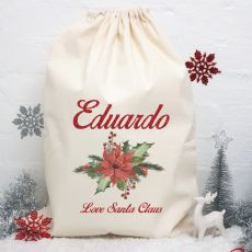 Personalised Christmas Santa Sack - Poinsettia