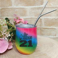21st Birthday Eco Tumbler Rainbow