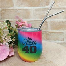 40th Birthday Eco Tumbler Rainbow