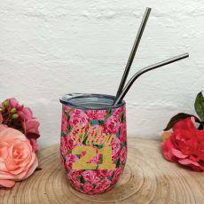 21st Birthday Eco Tumbler Roses
