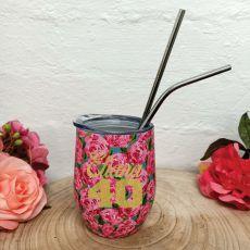 40th Birthday Eco Tumbler Roses