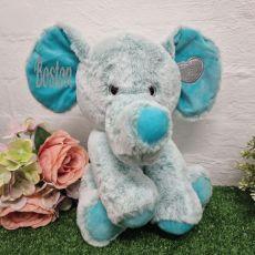 Personalised Green Elephant Plush Evan