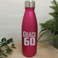 Personalised 60th Pink Glitter Drink Bottle