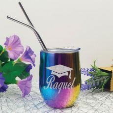 Graduation Rainbow Tumbler Stemless Wine Glass