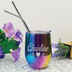 Personalised Rainbow Tumbler Stemless Wine Glass