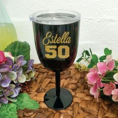 50th Birthday Wine Glass Black Stainless Steel