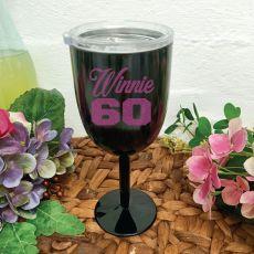 60th Birthday Wine Glass Black Stainless Steel