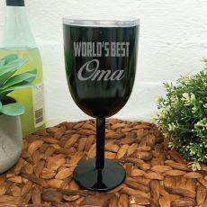 World's Best Grandma Black Stainless Wine Glass