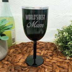 World's Best Mum Black Stainless Wine Glass