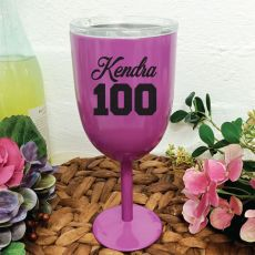 100th Birthday Wine Glass Purple Stainless Steel