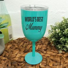 World's Best Mum Teal Stainless Wine Glass