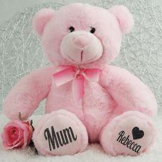Personalised Mum Teddy Bear Plush 30cm Light Pink