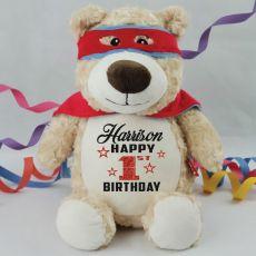 Personalised Birthday Super Hero Cubbie Plush
