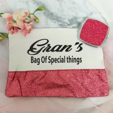 Grandma Make Up Bag & Mirror Set Pink Glitter
