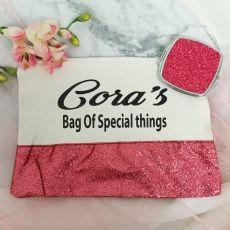 Personalised Make Up Bag & Mirror Set Pink Glitter