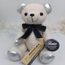 Personalised Christening Signature Bear - Black Bow