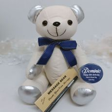 50th Birthday Signature Bear Blue Bow