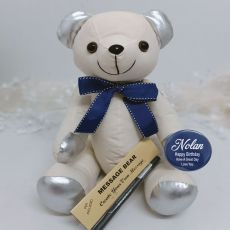 Personalised Birthday Signature Bear Blue Bow