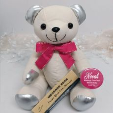 90th Birthday Signature Bear Pink Bow