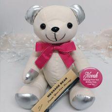 Personalised Birthday Signature Bear Pink Bow