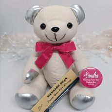 Personalised Baptism Signature Bear - Pink Bow