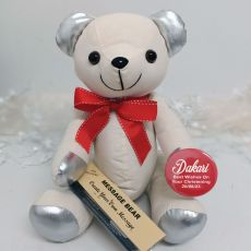Personalised Christening Signature Bear - Red Bow