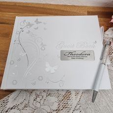 1st Birthday Personalised Guest Book White Silver Butterfly