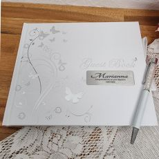 Baptism Personalised Guest Book White Silver Butterfly