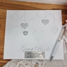 Personalised 80th Birthday Guest Book White Silver Hearts