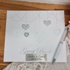 Anniversary Guest Book White Silver Hearts