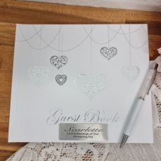 Christening Guest Book White Silver Hearts