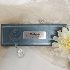 Personalised Flower Girl Glass Cross Suncatcher