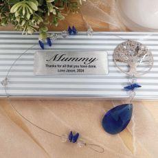 Personalised Mum Tree of Life Suncatcher- Blue