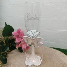 Grandma Champagne Flute Pink Butterfly