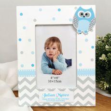 Personalised Blue Owl Photo Frame 6x4