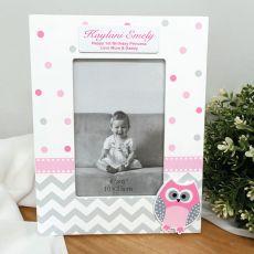 1st Birthday Pink Owl Photo Frame 6x4